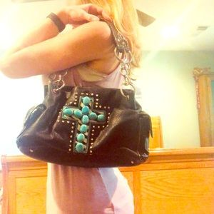 Handbags - Black purse with blue stone cross & rhinestones